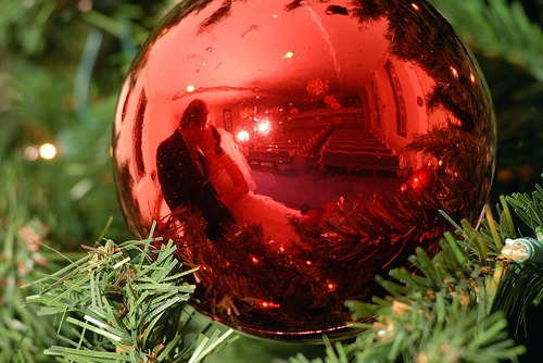This beautiful red christmas tree ornament shows a bride and groom kissing reflected in the ornament