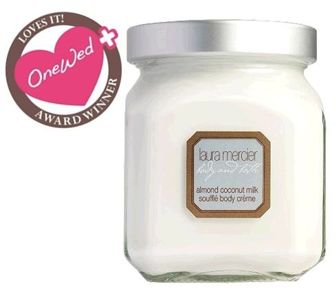 One Wed loves Laura Mercier's almond coconut milk souffle body cream for curing bridal dry skin.