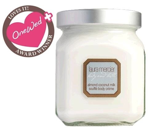 photo of One Wed loves Laura Mercier's almond coconut milk souffle body cream for curing bridal dry skin.