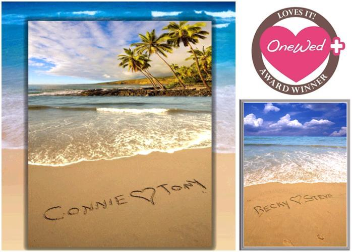 This tranquil Sandnames poster with you and your fiance's names and wedding date is a beautiful wedd