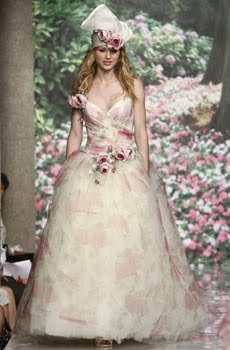 Whimsical ivory wedding dress with muted pink and green floral print ...