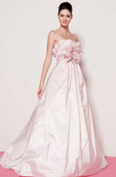 White Strapless Wedding Dress With Full A Line Skirt Light Cotton Candy Pink Rose Details And Sash