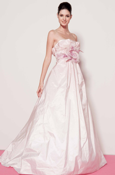 Baby pink strapless taffeta wedding dress with full a-line skirt and sash under bust