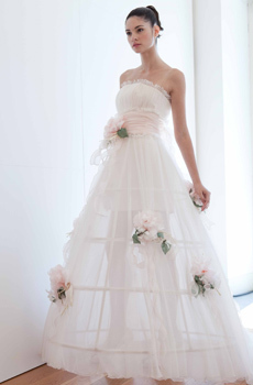 75373ef4ab60 White strapless wedding dress with full a-line skirt, light cotton candy  pink rose details and sash
