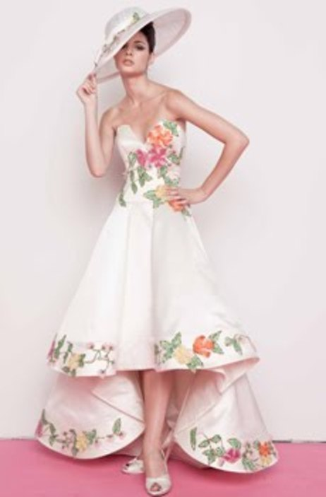 Whimsical Ivory Wedding Dress With Muted Pink And Green Floral Print Perfect For A Garden