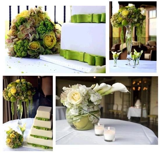 Clean and chic white and green floral centerpieces, topiaries, and a beautiful white wedding cake wi