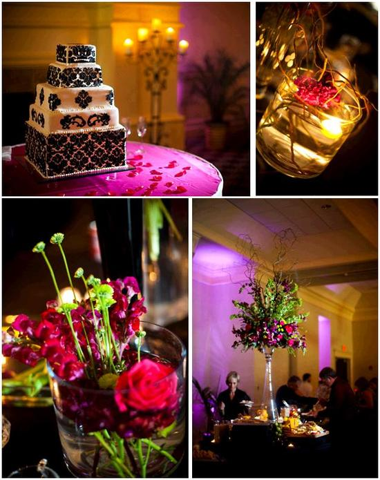 Chic black and white damask wedding cake; purple and green high topiaris