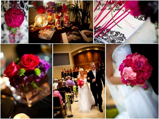 Gorgeous vibrant fuchsia and pink bridal bouquet; hot pink, purple, lime green floral centerpieces