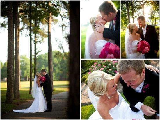 Happy bride, in white strapless wedding dress with bright fuchsia bridal bouquet, poses with handsom