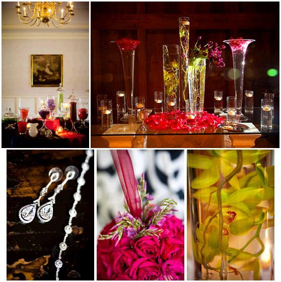 Delicious colorful candy bar; diamond drop earrings; fuchsia and green wedding flowers in hurricane