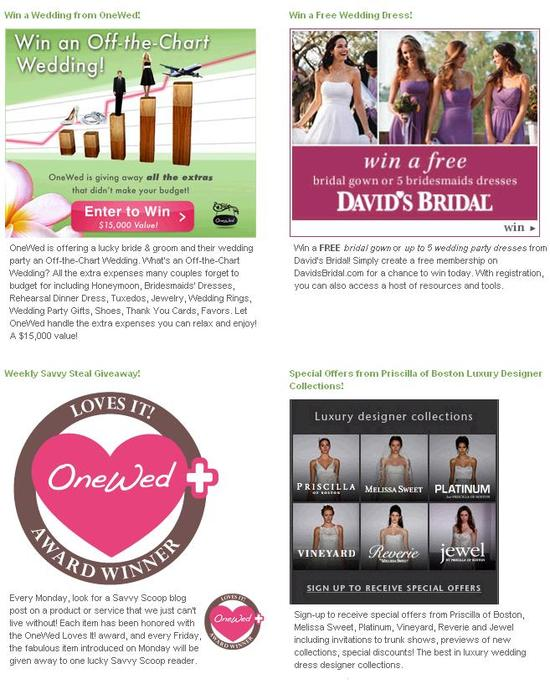 Don't miss out on all the fab wedding giveaways, freebies and discounts on our Savvy Steals and Deal