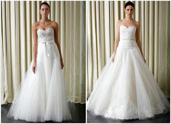 White and ivory strapless Monique Lhuillier wedding dresses with full a-line tulle skirts and hints
