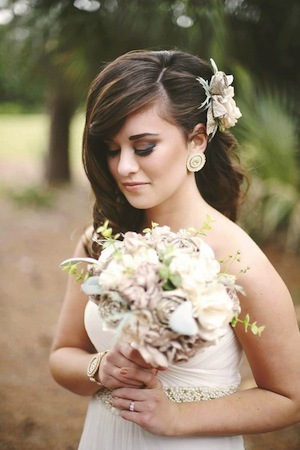 Custom Floral Bouquet, Hair Piece, & Jewelry