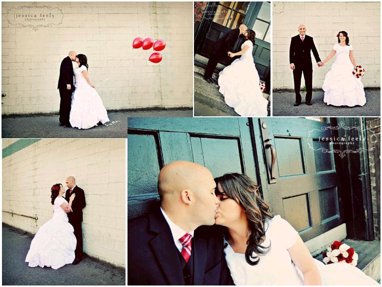 Red baloons fly behing bride and groom; kiss on doorstep