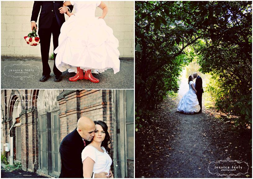 White-conservative-wedding-dress-white-red-roses-bridal-bouquet-forest-red-polka-dot-boots.full
