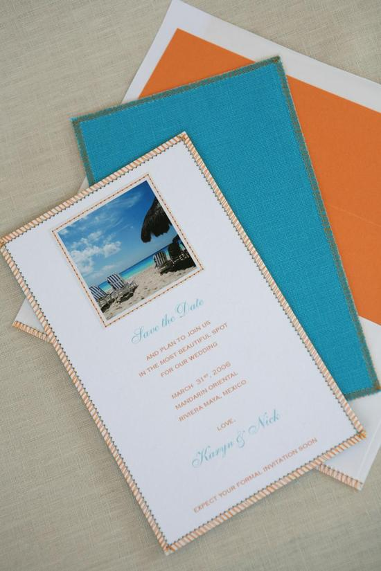 Orange, teal and white destination wedding invitations, printed with beautiful beach photo
