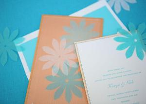 photo of Coral, aqua and white wedding invitations- perfect for a tropical destination wedding