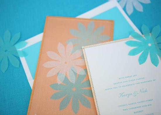 Coral, aqua and white wedding invitations- perfect for a tropical destination wedding