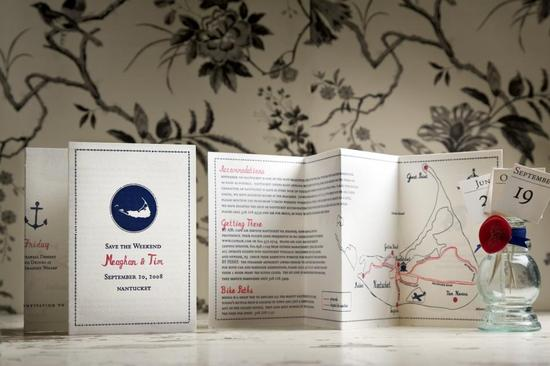 Beautiful white, navy and red destination wedding invitations, printed with map of destination