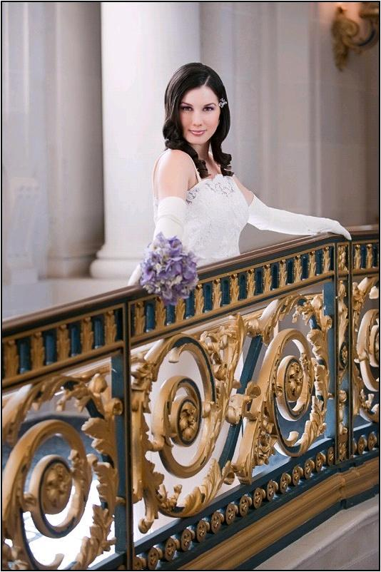 A chic civil ceremony at San Francisco's opulent City Hall- Bride holds lavender bridal bouquet