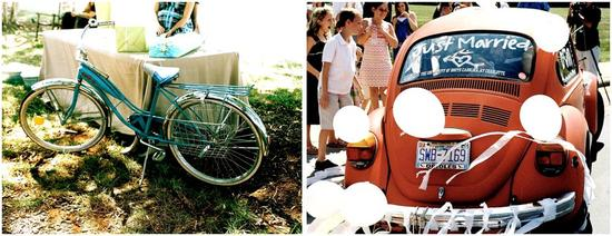 "Vintage blue bike given to bride by the groom; vintage VW bug with white balloons and ""Just Married"""