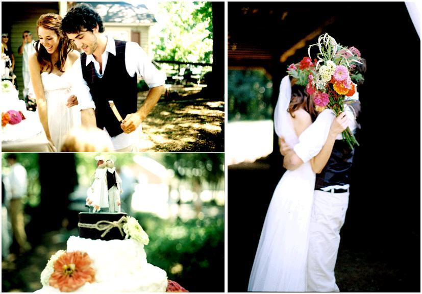 Outdoor-wedding-country-vibe-bride-groom-cut-cake-pink-orange-ivory-bridal-bouquet.full