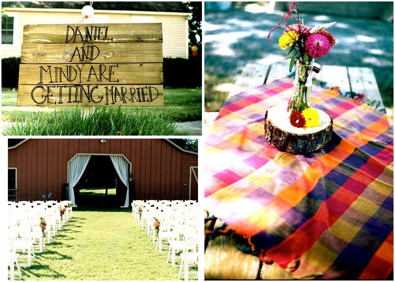 Beautiful outdoor wedding- handmade wood getting married sign, orange, purple pink picnic tablecloth