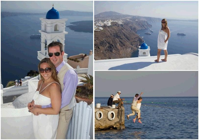 Santorini-greece-honeymoon-bride-groom-play-in-mediteranean-sea-purple-shirt-white-short-dress-khaki-suit-white-blue.full