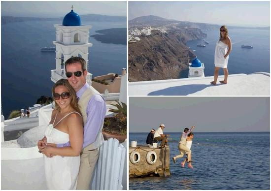 Beautiful newlyweds posing in Santorini, Greece.  Jump into sea together!