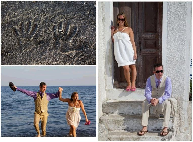 Santorini-greece-honeymoon-bride-groom-play-in-mediteranean-sea-purple-shirt-white-short-dress-khaki-suit.full