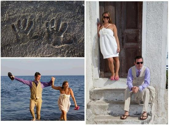 Honeymoon photos from Santorini- hand prints in sand, couple jumps into the sea wearing wedding dres