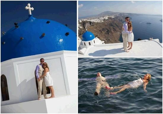 Newlyweds pose atop a beautiful building in Santorini, Greece; float together in mediteranean