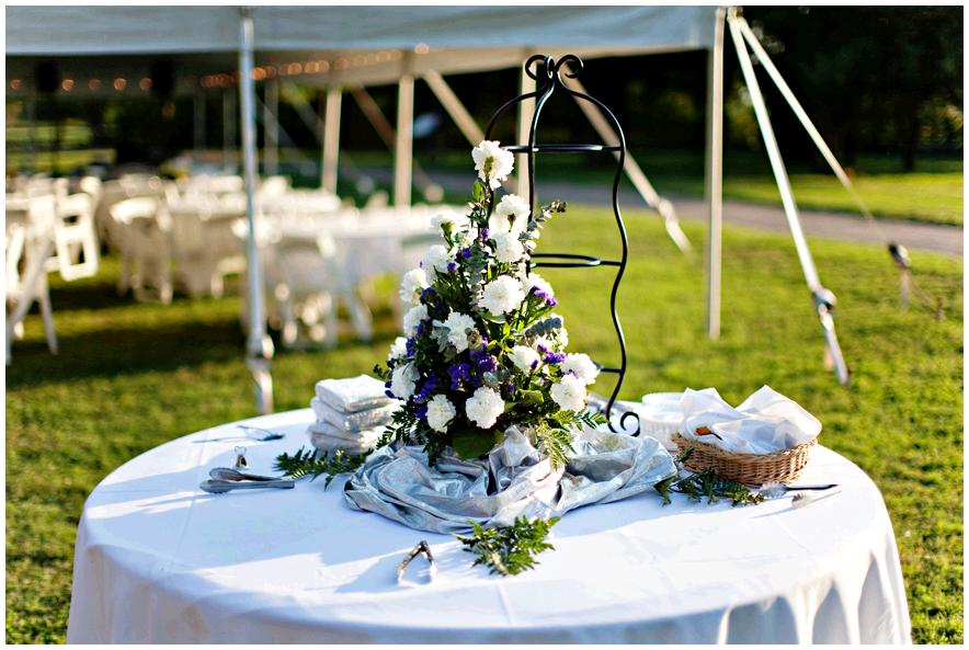 Purple Backyard Wedding : Gorgeous backyard wedding, with white tent and tables, white, purple