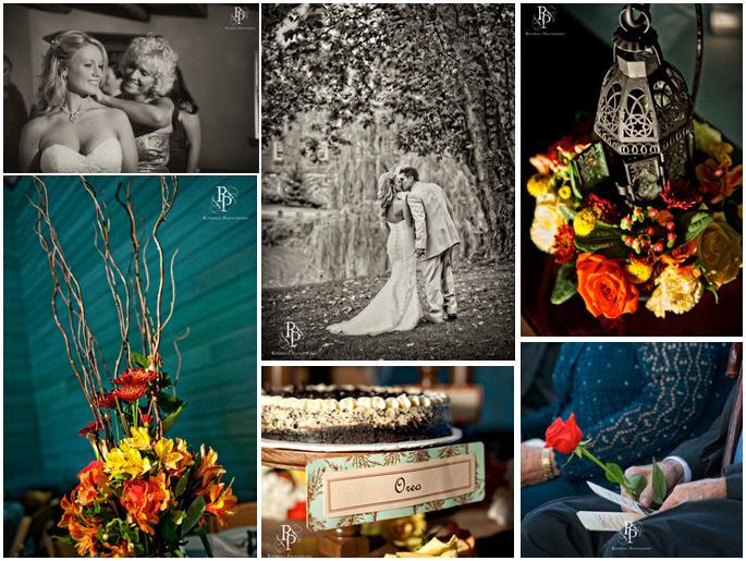Gorgeous vibrant orange, yellow, red and green floral centerpieces