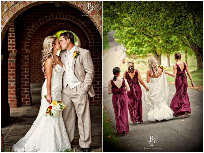 Wine-khaki-yellow-red-wedding-bride-groom-kiss-under-brick-arch-outdoors-bride-with-bridesmaids.full
