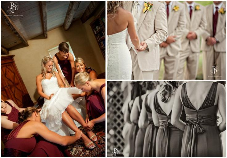 Wine-burgundy-bridesmaids-dresses-white-strapless-lace-wedding-dress-khaki-suits.full