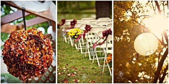 Burnt orange, yellow, and burgundy outdoor wedding with fall flowers and chinese lanterns