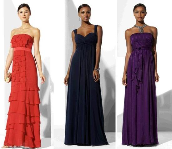 Red tiered strapless bridesmaids' dress; midnight blue and eggplant evening gowns, perfect for a fal