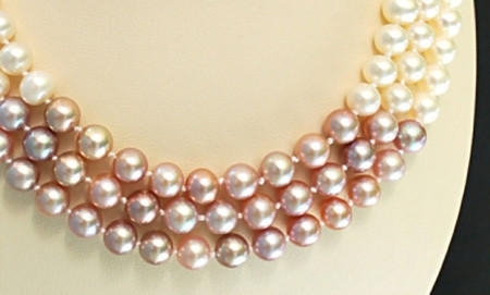 Beautiful white and rose three strand large pearl necklace, the perfect bridal accessory!