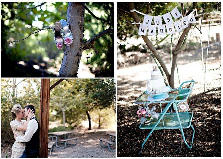 Bride's turqoise shoes with pink rose brooch hang from tree; just married sign in forest
