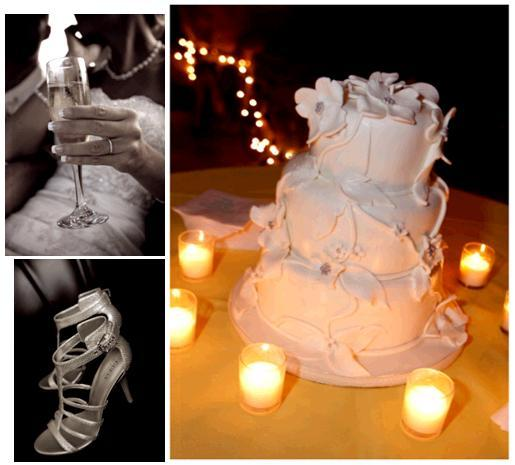 Chic white fondant wedding cake surrounded by tea lights, adorned with white flowers; champagne flut