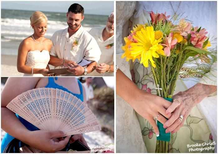 Bride and groom get married on the beach; bridesmaid in blue dress holds ivory fan; yellow and light