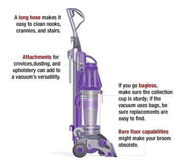 Ever wonder what various parts of the vacuum cleaner do? This adorable purple vacuum cleaner is labe