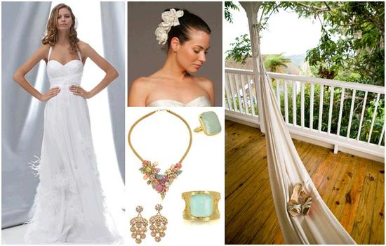 If you are having a destination wedding, play up a simple white wedding dress with fun, vibrant acce