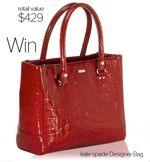 This fabulous red leather Kate Spade bag can be yours.