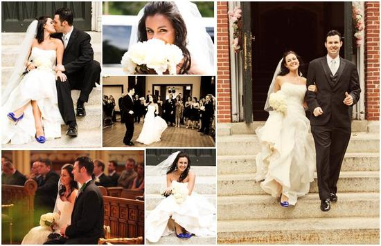 Beautiful bride in white strapless wedding dress, blue heels, white flowers, walks out of the chapel