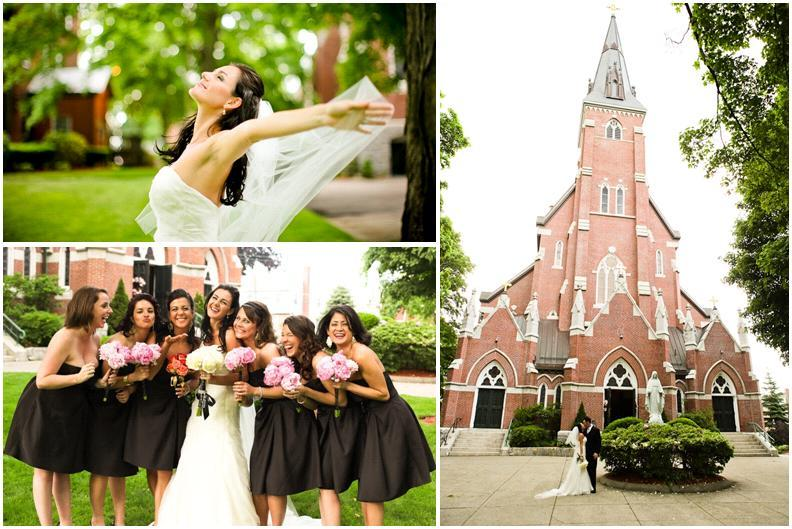 in white strapless wedding dress poses with bridesmaids, holding ...