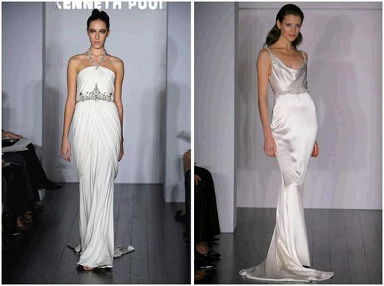 Sheath-style silk jersey and dutchess satin wedding dresses by Kenneth Pool