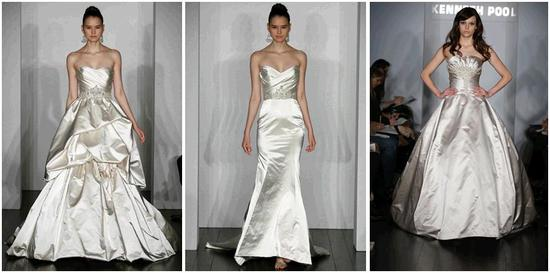 Stunning dutchess satin white and ivory wedding dresses from Kenneth Pool