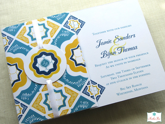 imbueyou mexican tile folded invitation w